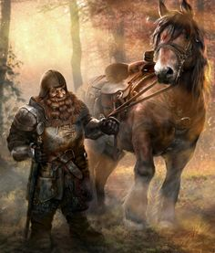 Jolly dwarven knight or well-equiped man at arms, with his stout horse...or a pony?