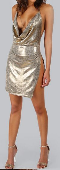COLROVIE Metallic Plunge Cowl Party Dress Gold Sexy Slit Backless Women Summer Dresses 2017 Mini Bodycon Draped Slim Club Dress #shopping #hipster #litewear #womenswear #love #women #womenfashion #Clothing  #womenstyle #dresses  #springoutfits #springstyle #springfashion #summeroutfits #summerstyle #summerfashion #outfits #outfitoftheday #outfitideas #womensfashion #casualchicoutfit #womensfashionoutfitschic #люблю  #женщины #женскаямода #Одежда #женскийстиль #летнийстиль #DIY #Cup #Recipe