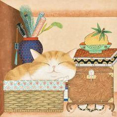 미묘는 잠꾸러기, 27x27cm 민화아트페어 준비하면서 고양이를 그리는 시간이 제일 행복했다. 나는 고양이... Korean Painting, Chinese Painting, Korean Art, Asian Art, Coaster Art, Chinese Drawings, Art Template, Naive Art, Pencil Illustration