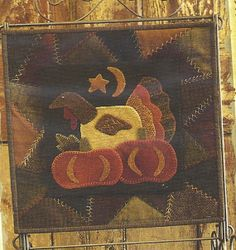 Primitive Folk Art Wool Applique Table Mat Pattern: NOVEMBER