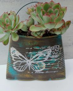 Tin Can Crafts, Diy And Crafts, Plastic Coffee Containers, Iron Orchid Designs, Tin Art, Cacti And Succulents, Creative Crafts, Painting On Wood, Flower Pots