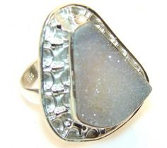 Cloud Kissed Moon Druzy Sterling Silver Ring s. 8