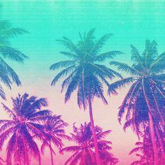 Pink Turquoise Tropical Beach Sunset Palms Art Print