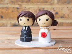 Cute bride and groom wedding cake topper by Genefy Playground  https://www.facebook.com/genefyplayground