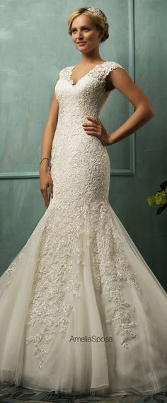To see more fabulous wedding dresses: http://www.modwedding.com/2014/11/21/editors-pick-flattering-wedding-dresses/ #wedding #weddings #wedding_dress #Amelia_Sposa