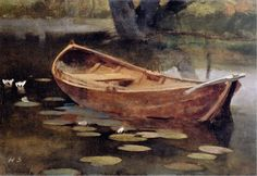 """""""Boat on a lily pond, sjundby"""", oil on canvas, Helene Schjerfbeck Finland Helene Schjerfbeck, Helsinki, Pond Painting, Japanese Vase, Nordic Art, Lily Pond, Abstract Images, Still Life, Oil On Canvas"""