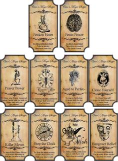 Vintage Labels Halloween Magic steampunk label glossy stickers set of 10 scrapbooking crafts - Halloween Potion Bottles, Halloween Apothecary, Halloween Labels, Halloween Party Supplies, Halloween Magic, Easy Halloween, Holidays Halloween, Halloween Crafts, Halloween Decorations