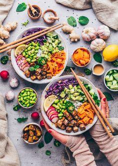 Vegetarian Recipes, Healthy Recipes, Vegan Bowl Recipes, Tofu Recipes, Clean Eating, Healthy Eating, Vegan Sushi, Crispy Tofu, Ceviche