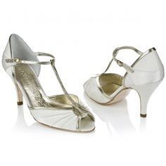 Mimi by Rachel Simpson Vintage Ivory and Gold T-Bar Designer Wedding or Occasion Shoes
