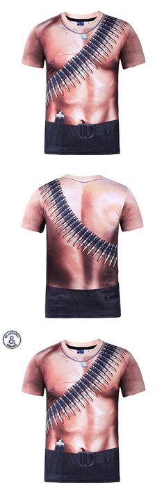 2017 luxury New Arrivals Men's 3d T-shirt Print  Bullet Muscle Hip Hop Boy Cool T shirt Summer Tops Tees Asia Size S - XXXL