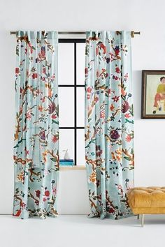 Cecilia Curtain by Anthropologie in Green, Curtains Floral Curtains, Velvet Curtains, Colorful Curtains, Green Curtains, Eclectic Curtains, Bird Curtains, Bohemian Curtains, Printed Curtains, Home Curtains