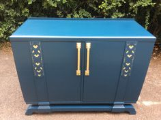 """Art Deco sideboard/cabinet painted in Hague blue """"farrow & ball"""" with gold detailing. Currently for sale on my Etsy shop MarkGriffithsDesigns. Upcycled Furniture, Painted Furniture, Hague Blue, Art Deco Home, Sideboard Cabinet, Farrow Ball, Bespoke Design, Blue Art, Painting Cabinets"""