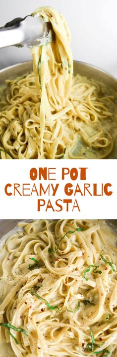 One Pot Creamy Garlic Pasta | . Easy vegan fettuccine alfredo-style pasta dish that all cooks together in one pot. #creamygarlicpasta #pasta #vegan #vegetarian #foods #dinnerideas