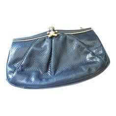 Judith Leiber 1980's Lizard Handbag With Teddy Bear Clasp And Hidden Strap