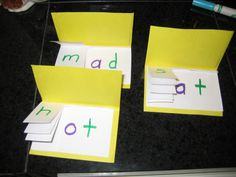 "These flips books would be great for teaching onset and rime. Students could actually make these in class. For a phonics lesson in 1st or 2nd grade the teacher could hand out the folded pieces of paper and have the students write words with the same rime in each one. These could eventually be a great ""study guide."""