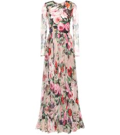 DOLCE & GABBANA Embellished printed silk chiffon dress