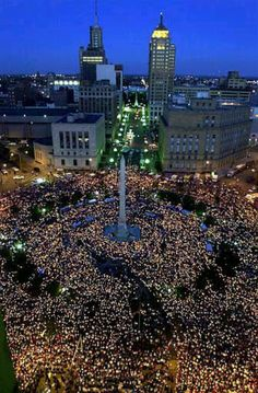 Candlelight memorial for the victims of 9/11. Buffalo, NY