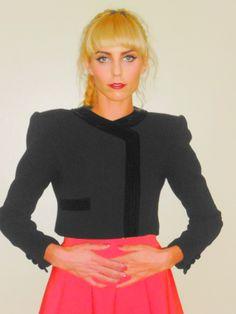 80's high fashion vintage black wool and velvet long sleeve with elongated shoulders $64 @ etsy.com/shop/moddollz