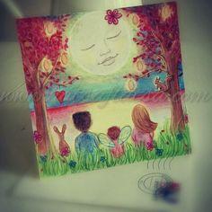 For a beautiful baby girl! #baby #newborn #moon #luna #drawing #birth #illustration www.hatsaflatsa.com