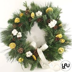 Coronita CRACIUN portocale flori de bumbac si conuri - C130 – YaU concept Christmas Wreaths, Christmas Decorations, Holiday Decor, Modern Christmas, Green, Design, Corona, Christmas Decor
