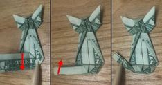 Origami Cat, Money Origami, Paper Crafts Origami, Origami Instructions, Step By Step Instructions, Easy Dollar Bill Origami, Folding Money, Creative Gifts, Crafty