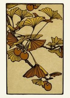 gingko art and crafts design inspiration - gingko art and crafts design inspiration - Art Nouveau, Arts And Crafts Movement, Jugendstil Design, Japon Illustration, Art And Craft Design, Frame Crafts, Motif Floral, Art Graphique, Letterpress Printing