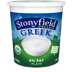 Stonyfield Organic Plain Greek yogurt  ingredients: milk and cultures