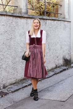 Red Velvet Dirndl von Almsach by tifmys Mango Bags, Custom Leather Jackets, Dirndl Dress, Historical Costume, Sock Shoes, Traditional Dresses, Midi Skirt, How To Wear, Boots
