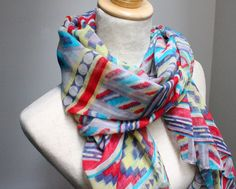 Aztec Scarf Fall Scarf - Grey & Green. $14.99, via Etsy.