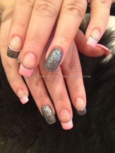 Charcoal grey glitter and baby pink freehand nail art