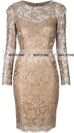 Summer Mother Of The Bride Dresses 100% Real Picture 2015 Lace Hollow Mother Dresses Evening Dresses Scoop Full With Applique 3/4 Long Sleeve Sheath Knee Length Zipper Gold Mother Of Bride Plus Size Dresses From Whiteone, $111.14| Dhgate.Com