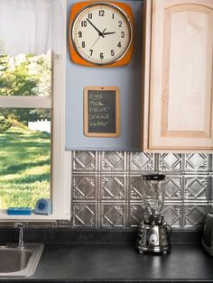 This is an easy project that should cost you no more than $100. Tin tile has many advantages: Its reflective properties will brighten a room, it is easy to clean and it comes in a variety of finishes to match your kitchen's hardware and fixtures.