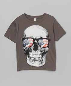 Look at this Charcoal USA Flag Glasses Skull Tee - Infant, Toddler & Boys on #zulily today!