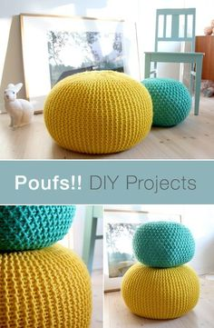 Poufs are a multi-functional and stylish addition to any room in the house. Make… Poufs are a multi-functional and stylish addition to any room in the house. Make your own for less with the help of this DIY pouf tutorial. Pouf En Crochet, Crochet Diy, Crochet Home, Crochet Crafts, Crochet Pouf Pattern, Knitted Pouf, Crotchet, Knitting Projects, Crochet Projects