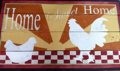 Kitchen Art Decor, Home Sweet Home, Rooster, reclaimed wood, rustic, chicken/rooster sunrise, red and white checker, country charm Rooster. Home Sweet Home, Rooster/Chicken reclaimed wood, stencil rustic, chicken sunrise, rooster sunrise, red and white checker, country charm roost. Your country home, barn, chicken coop or garden will look bright and cheery with this rustic sign, hand painted on reclaimed wood. Ready to hang with artist gallery wire gauge hardware. One of a kind and…