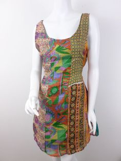 Sacred Threads Patchwork Multi-Color 100% Silk Mini Dress SIZE MEDIUM LARGE M/L #SacredThreads #Shift #Casual