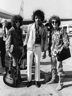 The Jimi Hendrix Experience Arriving at Heathrow Airport, August 1967 Photographic Print