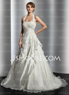 Wedding Dresses - $186.99 - A-Line/Princess Halter Court Train Taffeta Organza Wedding Dresses With Ruffle Lace (002014817) http://jjshouse.com/A-line-Princess-Halter-Court-Train-Taffeta-Organza-Wedding-Dresses-With-Ruffle-Lace-002014817-g14817
