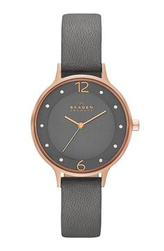 Free shipping and returns on Skagen 'Anita' Crystal Index Leather Strap Watch, 30mm at Nordstrom.com. A crystal-sparked dial pairs with a slender leather strap to refresh this classic round watch with a modern aesthetic and proportions.