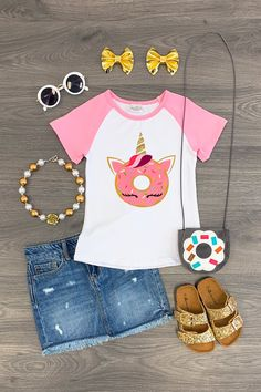Donut Unicorn Top - Sparkle In Pink Cute Girl Outfits, Little Girl Outfits, Cute Outfits For Kids, Teen Outfits, Summer Outfits, Unicorn Fashion, Unicorn Outfit, Baby Girl Fashion, Kids Fashion
