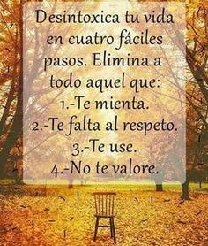 Desintoxique tua vida em quatro passos fáceis. Elimina a todo aquele que: 1) Minta-te. 2) Falte-te ao respeito. 3) Use-te. 4) Não te valorize.
