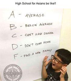 Asian parents be like - Humor Funny Asian Memes, Asian Jokes, Asian Humor, Funny Relatable Memes, Funny Texts, Funny Jokes, Epic Texts, 9gag Funny, Funny Minion
