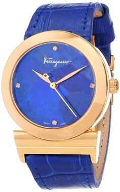 """Salvatore Ferragamo Women's FG2020013 """"Grande Maison"""" Diamond-Accented Gold Ion-Plated Watch with Leather Band"""
