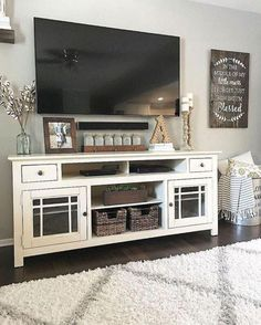 Sweet home Living Room - 47 Amazing Rustic Farmhouse Living Room Decoration IdeasHomeDecorish. My Living Room, Living Room Interior, Home And Living, Modern Living, Tv Stand Ideas For Living Room, Modern Room, Living Room Decor With Tv, Small Living, Apartment Interior