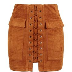 Brown Faux Suede Lace Up Front Pencil Mini Skirt ($36) ❤ liked on Polyvore featuring skirts, mini skirts, zipper skirt, bodycon mini skirt, brown mini skirt, faux suede mini skirt and zipper pencil skirt