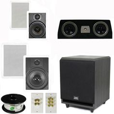 "5.1 Home Theater 8"" and 6.5"" Speakers Set with Center, 8"" Powered Sub and More TS6W8WC51SET3 by Theater Solutions. $349.99. Specifications2 TS65W In Ceiling/Wall Speakers6.5"" Woven Kevlar Driver with 32-20,000 Hz Range200 Watts RMS and 400 Watts Max per pair93dB SensitivityWall Cut Out Size is 10.5"" x 7.125""Overall Measurement is 12.125"" x 8.6875""Mounting Depth is 3""2 TS80W In Ceiling/Wall Speakers8"" Woven Kevlar Drivers with 30-20,000 Hz Range250 Watts RMS and 5..."