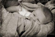Baby photography idea. Sleepy baby. Black and white.