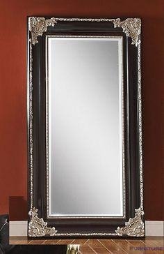 Acme Furniture 97111 Karol Accent Floor Mirror, Silver/Black for sale online Wall Mirrors Entryway, Small Wall Mirrors, Living Room Mirrors, Diy Mirror, Floor Mirrors, Mirror Mirror, Foyer, Furniture Direct, Acme Furniture