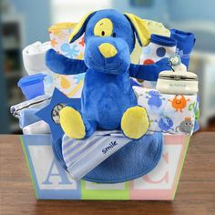 Welcome the new baby boy home in style! This adorable multi-colored ABC gift…
