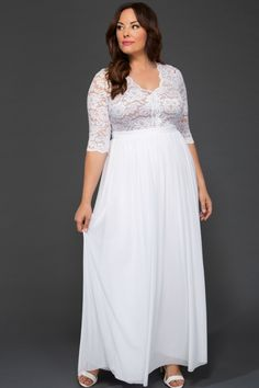Plus Size White Maxi Dresses. New all white plus size maxi dresses for this season. Find the perfect on trend plus size look. Wedding Dresses Plus Size, Plus Size Maxi Dresses, Plus Size Wedding, Bridal Dresses, Wedding Gowns, Dresses With Sleeves, Lace Sleeves, Maternity Dresses, Lace Wedding